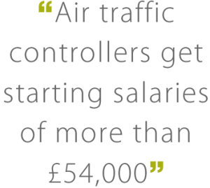 Image reading: 'Air traffic controllers get starting salaries of more than £54,000'