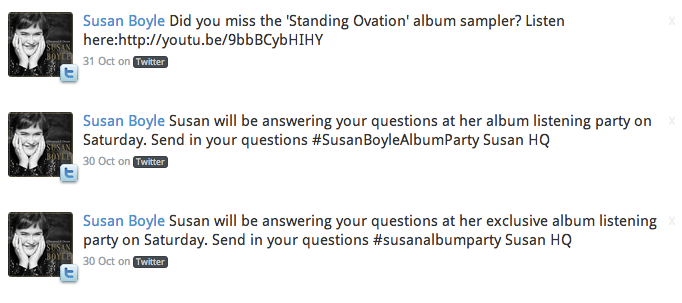 Susan Boyle's Tweet #susanalbumparty