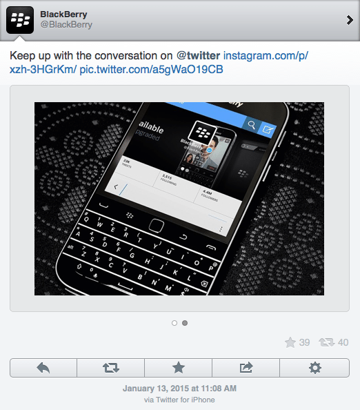Blackberry tweet advertisement from an iPhone
