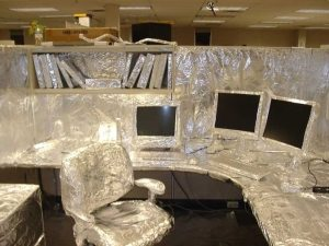 office covered in foil