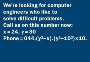 job advert seeking computer engineers able to fix an equation