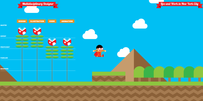 screenshot of interactive game CV where a cartoon candidate jumps around, boasting his experience