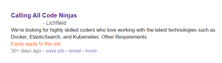 Job advert advertising for 'code ninjas'