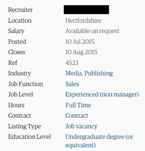 A job advert with Salary: 'available on request'