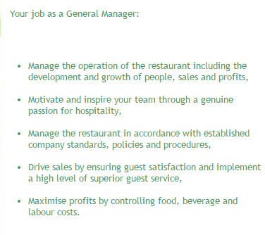 Job advert for a general manager