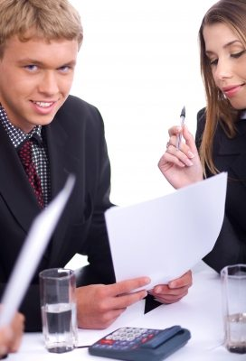 Man looking confident with notes during an interview