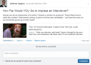 example of a LinkedIn engaging update