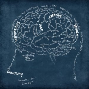 a drawing of a face and a brain made up of words like design, creative and inspirations