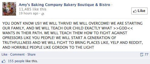 A second Facebook rant from Amy's Baking