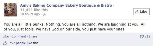 A huge facebook rant from Amy's Bakery at customers who complained