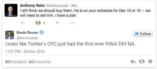 Anthony Noto tweet - I still think we should buy them. He is on your schedule for Dec 15 or 16 -- we need to sell him. i have a plan