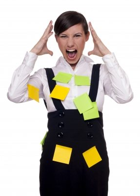 woman with post-it notes all over her, struggling with work