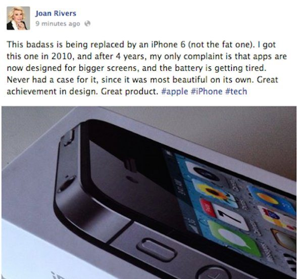 Tweet about iPhone 6 - after she'd passed away