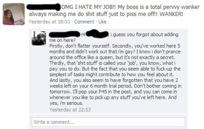 Angry Facebook post from woman who hates her boss (swearing about him)
