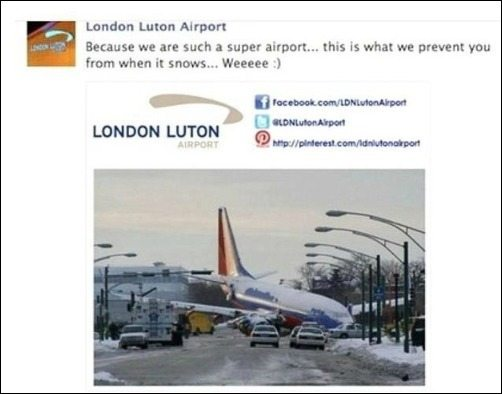 Picture of plane crash that Luton Airport used for publicity stunt - a boy died.
