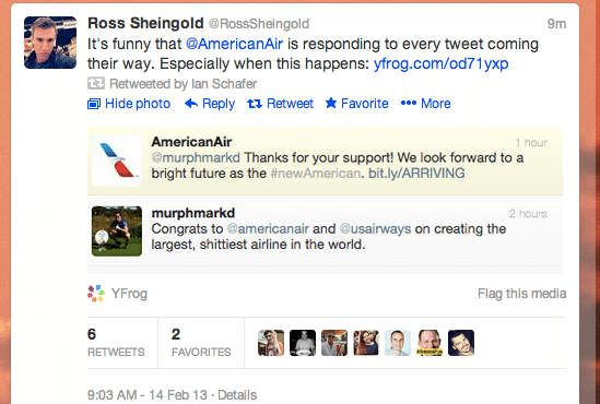 American Airlines automated Twitter reply: 'Thanks for the support' after someone called them the largest, shittiest airline in the world