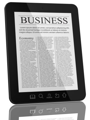 tablet with the business news on it
