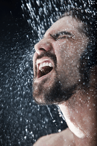 man in cold shower