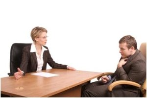 woman slouching during her interview