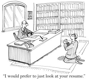 "Man begging before his recruiter who replies... ""I would prefer to just review your resume."""