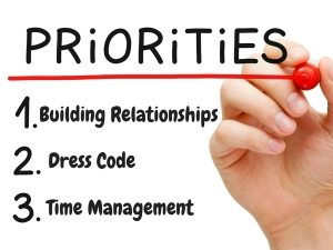 a list of priorities including building relationships as number 1