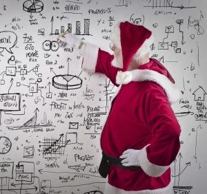 santa drawing on a white board