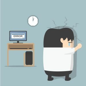 cartoon of man with error on computer hitting his head against the wall.