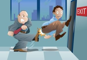 boss kicking man out of the exit (cartoon)