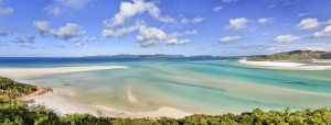 Queensland Great Bareer reef in coral sea - panoramic view on witehaven lagoon and beach of whitsunday islands