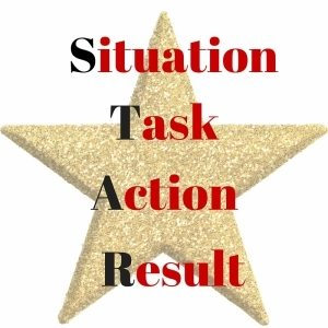 star with situation, task, action, result written on it