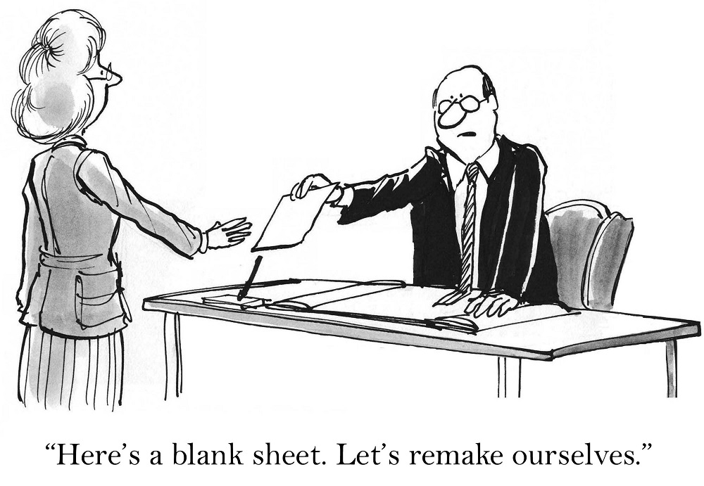 "Cartoon of man handing woman a blank sheet saying... ""Here's a blank sheet. Let's remake ourselves."""