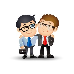 2 male best friends in suits hugging, cartoon