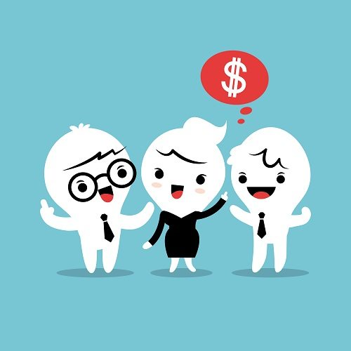 3 cartoon people chatting with one thinking 'money'