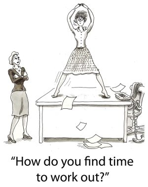 """Woman exercising at work with caption """"How do you find time to work out?"""""""