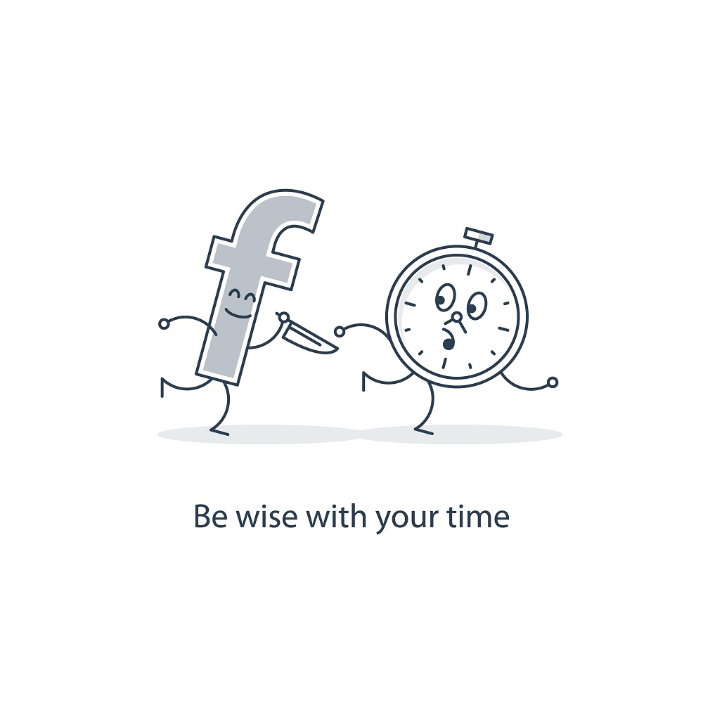 "facebook symbol running after a clock with a knife with caption ""be wise with your time!"""