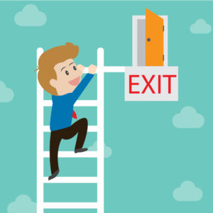 businessman climbing towards an exit door