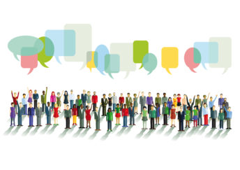 group of (cartoon) people chatting with speech bubbles above their head