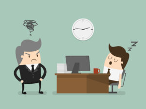 man falling asleep at desk while boss looks at him angrily - cartoon