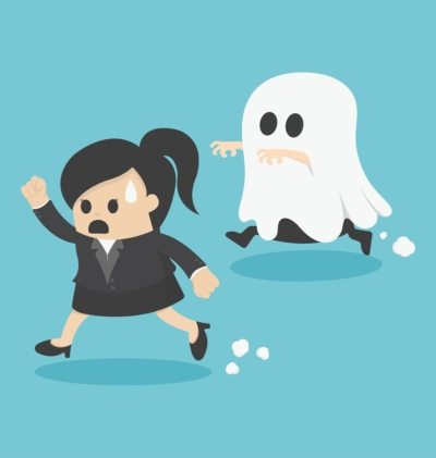 woman in suit running away from ghost - cartoon
