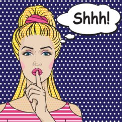 Girl says Shhh pop art comics style. Vector retro woman putting her forefinger to her lips for quiet silence.