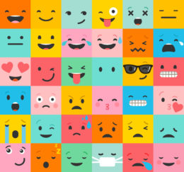 loads of different emoticons with colourful backgrounds