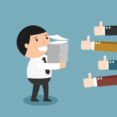 Feedback-People give the man thumbs-up for his good work illustration, vector