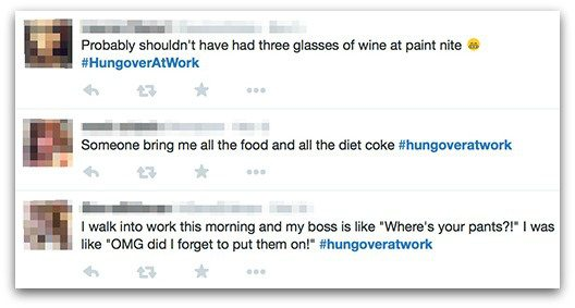 people admitting to being hungover at work