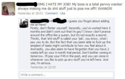 woman moaning about her boss and she gets caught out
