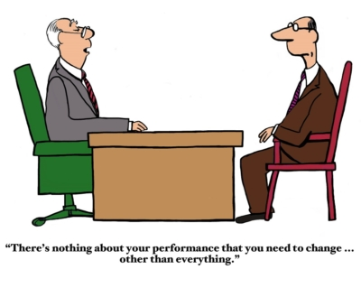 Business cartoon about a bad performance review.