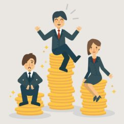 cartoon of 3 businesspeople sat on different pots on money, one on the highest and one on the lowest looking unhappy