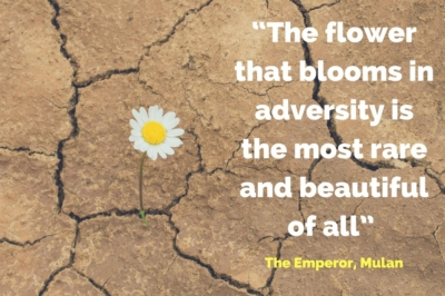 """The flower that blooms in adversity is the most rare and beautiful of all"" The Emperor, Mulan"
