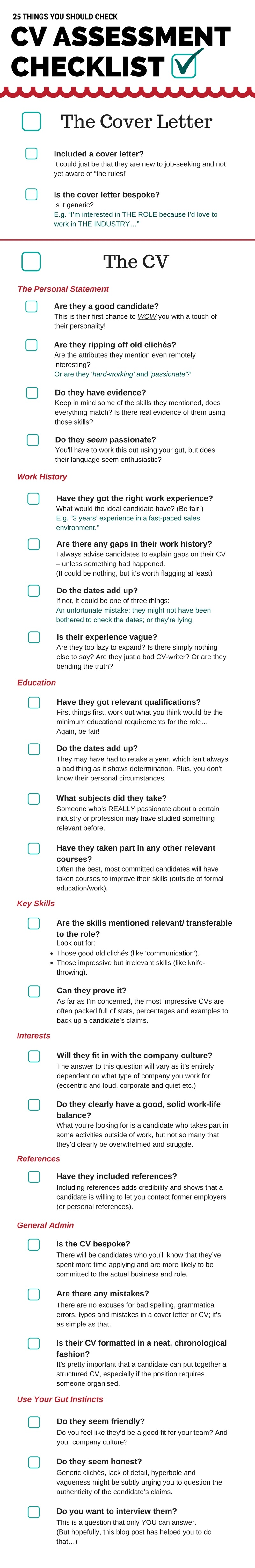 cv assessment checklist  25 things you should be checking
